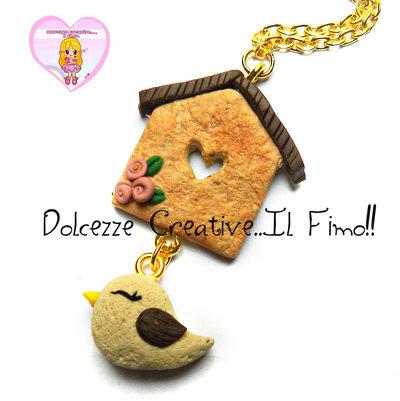 Collana Casetta degli uccelli Con Uccellino - kawaii handmade idea regalo shabby