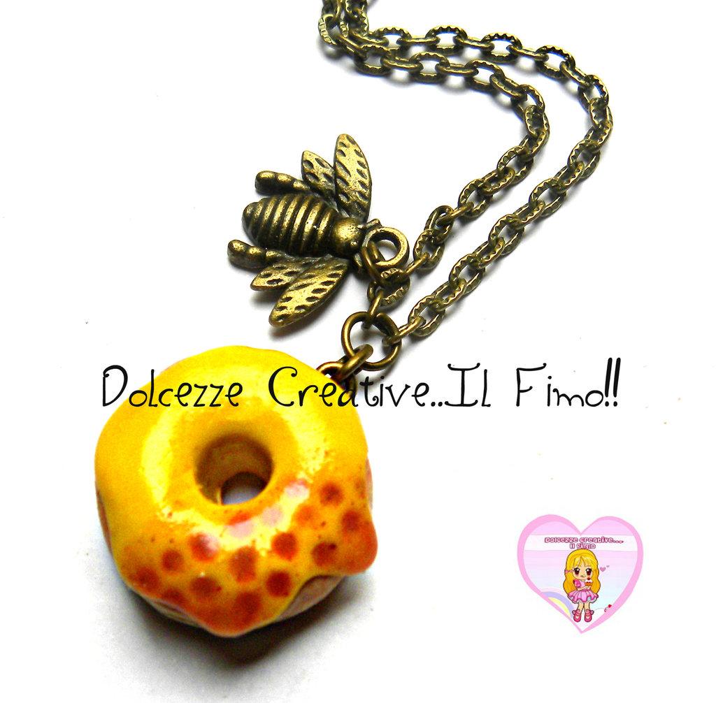 Collana Miele - Donut kawaii Ape, idea regalo handmade - kawaii