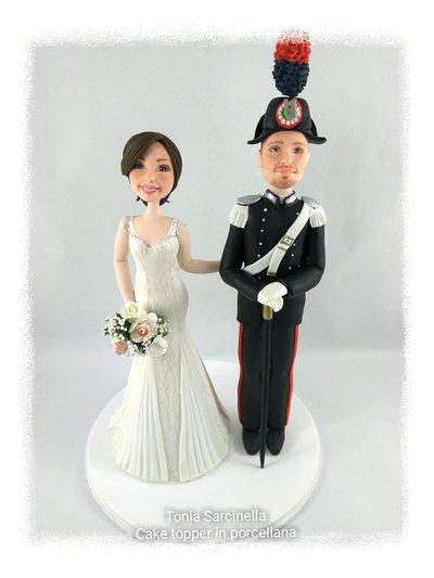Cake topper sposi in divisa