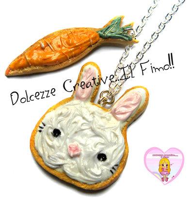 Collana Cookie - Biscotti glassati a forma di coniglio e di carota! handmade kawaii