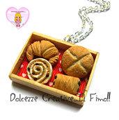 Collana Vassoio Panetteria - Cornetti, pane, girelle con glassa e cioccolato - miniature