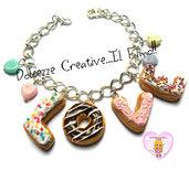 Bracciale Donut - Ciambelle con la scritta LOVE - Amore - con glassa fragole, cioccolato