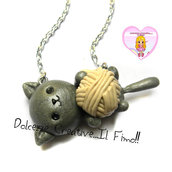 Collana Gattino con gomitolo di lana - Gatto - Cat lover - idea regalo gattara!
