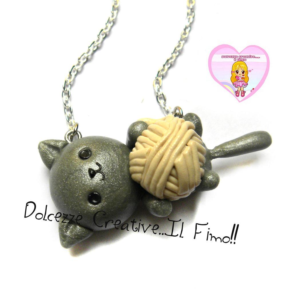 Collana Gattino con gomitolo di lana - Gatto - Cat lover - idea regalo gattara!