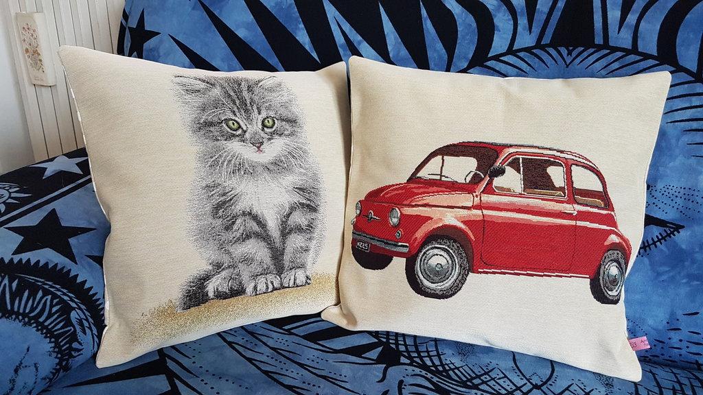Cuscino Fiat500 e gatto
