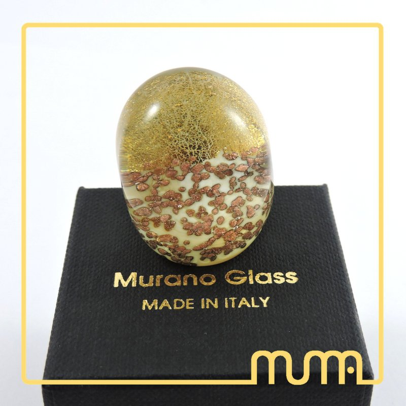 Stupendo anello in vetro di Murano, grande a fascia, comodissimo