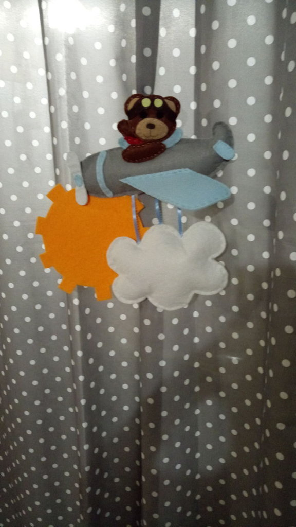 Fiocco nascita orsetto aviatore
