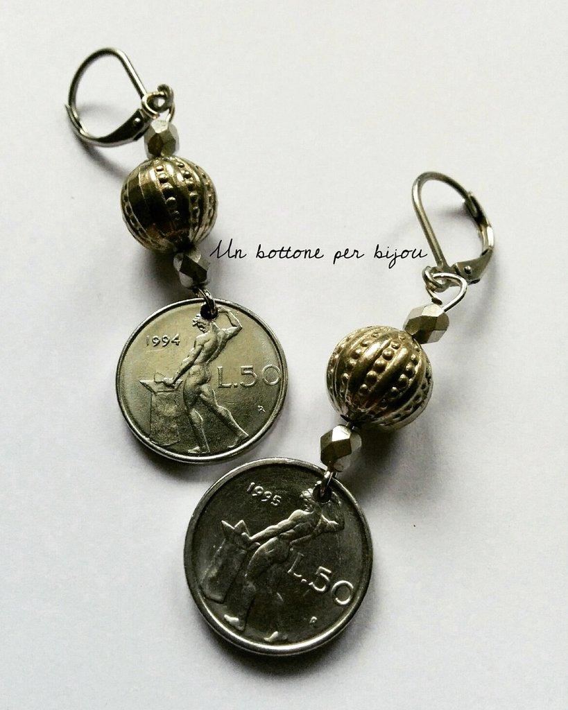 Orecchini con monete italiane vintage anni'90