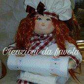 Bambola portascottex bordeaux e panna