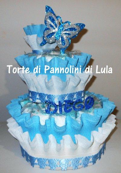 Torta di Pannolini grande 3 piani Pampers Baby Dry- idea regalo, originale ed utile, per nascite, battesimi e compleanni