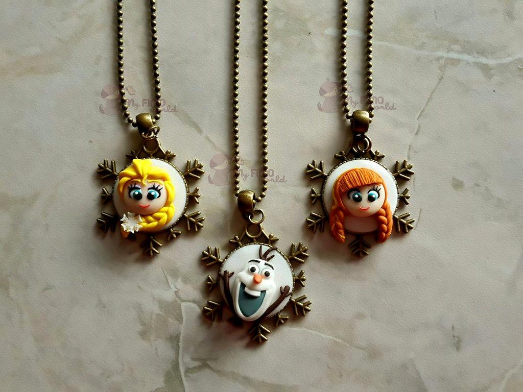 Collane con cammeo con Elsa, Olaf ed Anna fimo