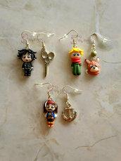 Orecchini pendenti con Piccolo Principe, Jack Sparrow e Edward mani di forbice fimo