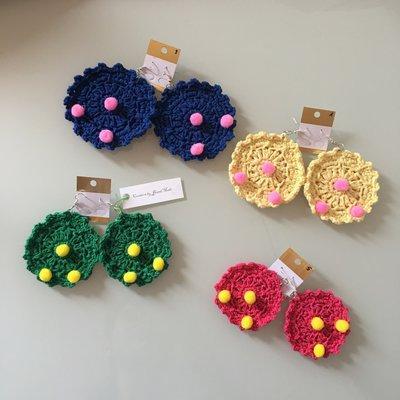 Orecchini donna earrings uncinetto pon pon