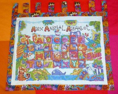 Banner Alfabeto animali ricamato a punto croce