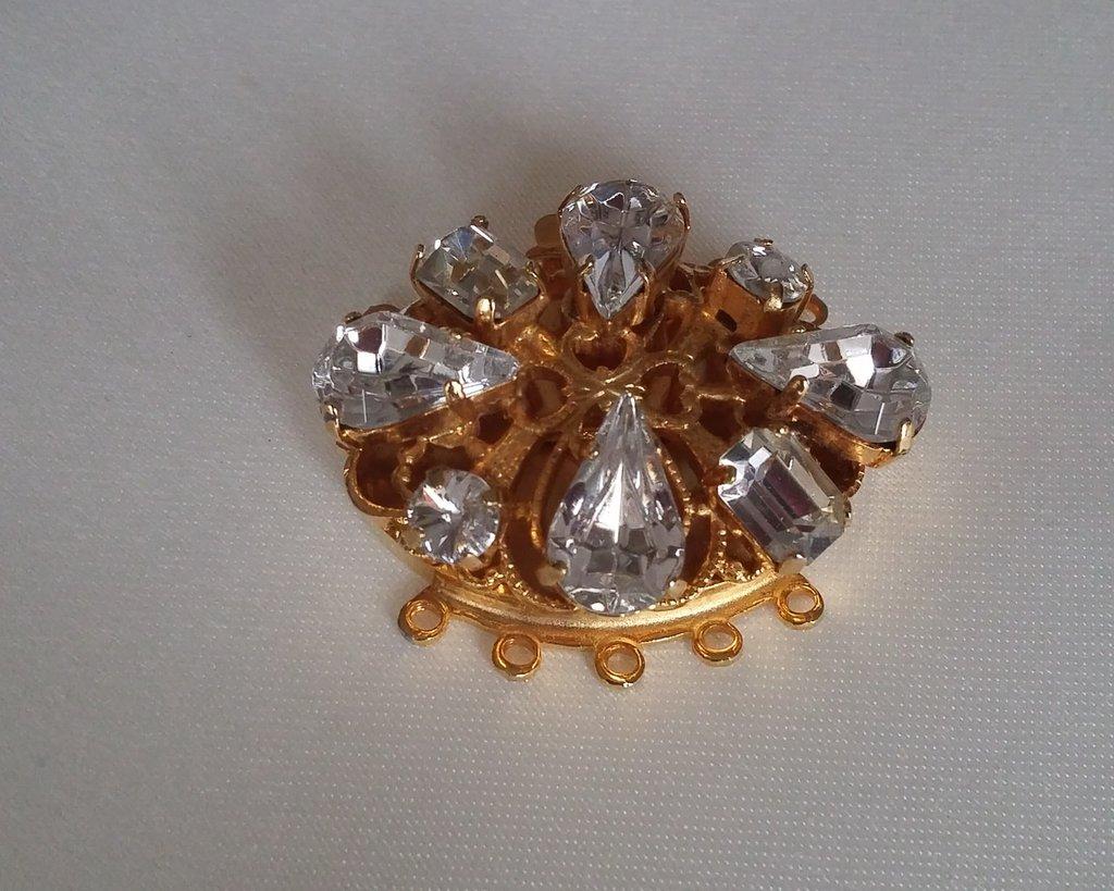 chiusura fermaglio per collana, a 6 fili in metallo dorato e swarovski