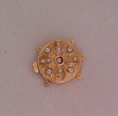 chiusura fermaglio per collana, bracciale, a 3 fili in metallo dorato e strass
