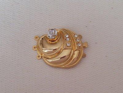 chiusura fermaglio per collana, bracciale,a 3 fili in metallo dorato e strass