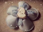 Fiore porta confetti azzurro bimbo