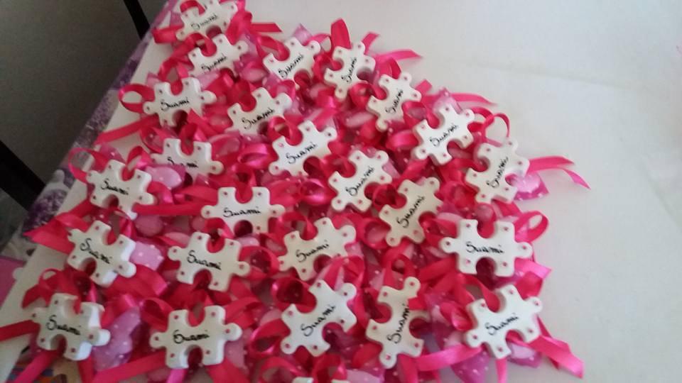 bomboniera puzzle gesso ceramico per battesimo, nascita, comunione
