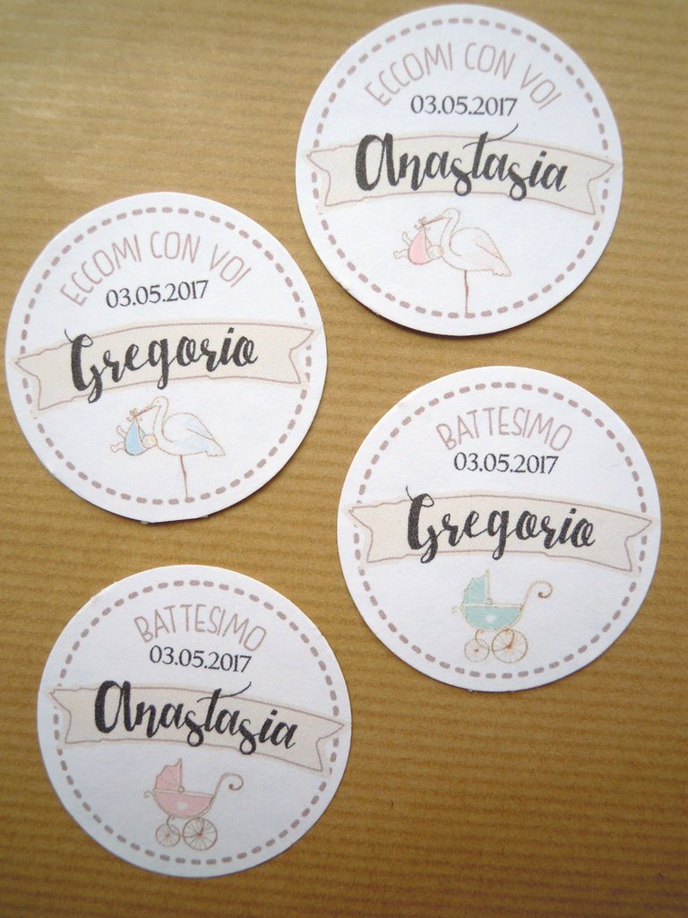 bigliettini tags moderni vintage chic  tondo liscio tags tondo 4,45 mm