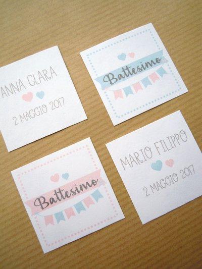 tags bomboniere / bigliettini bomboniere dolcissimi tags quadrato fronte e retro 35 mm
