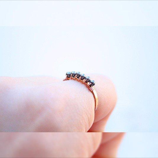 Anello del filo di rame dell'ematite, anello a barretta, rame