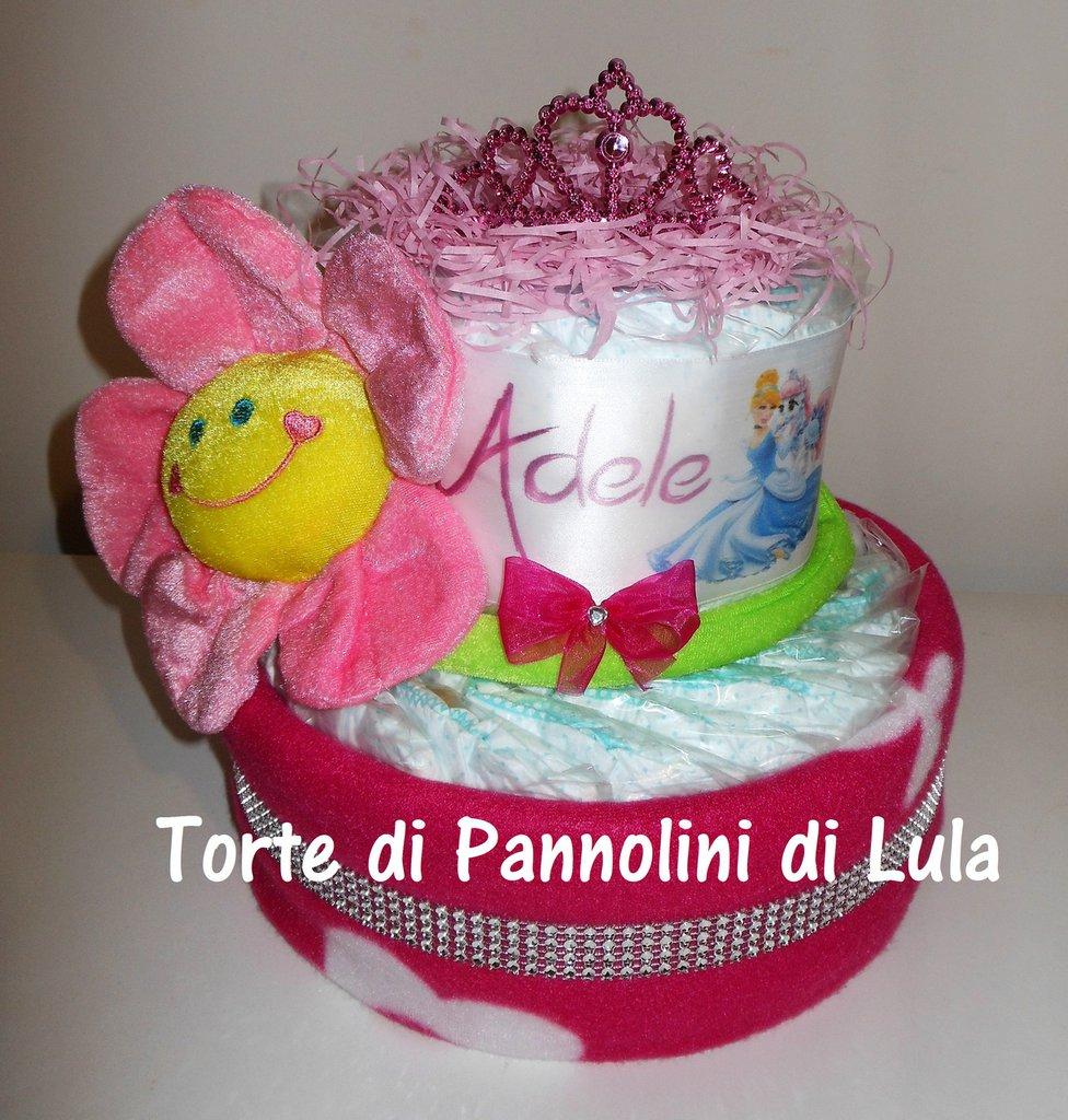 Torta di Pannolini Pampers Baby Dry nome personalizzabile nascita battesimo