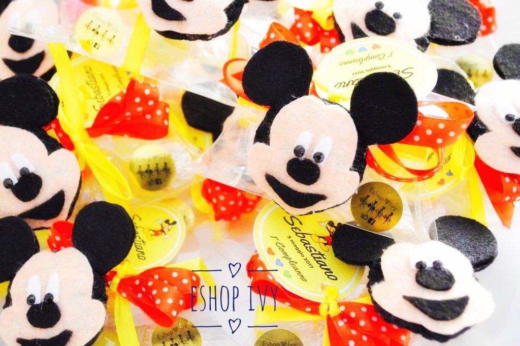 Bomboniere compleanno gadget fine festa complete di confetti topolino minnie personalizzate