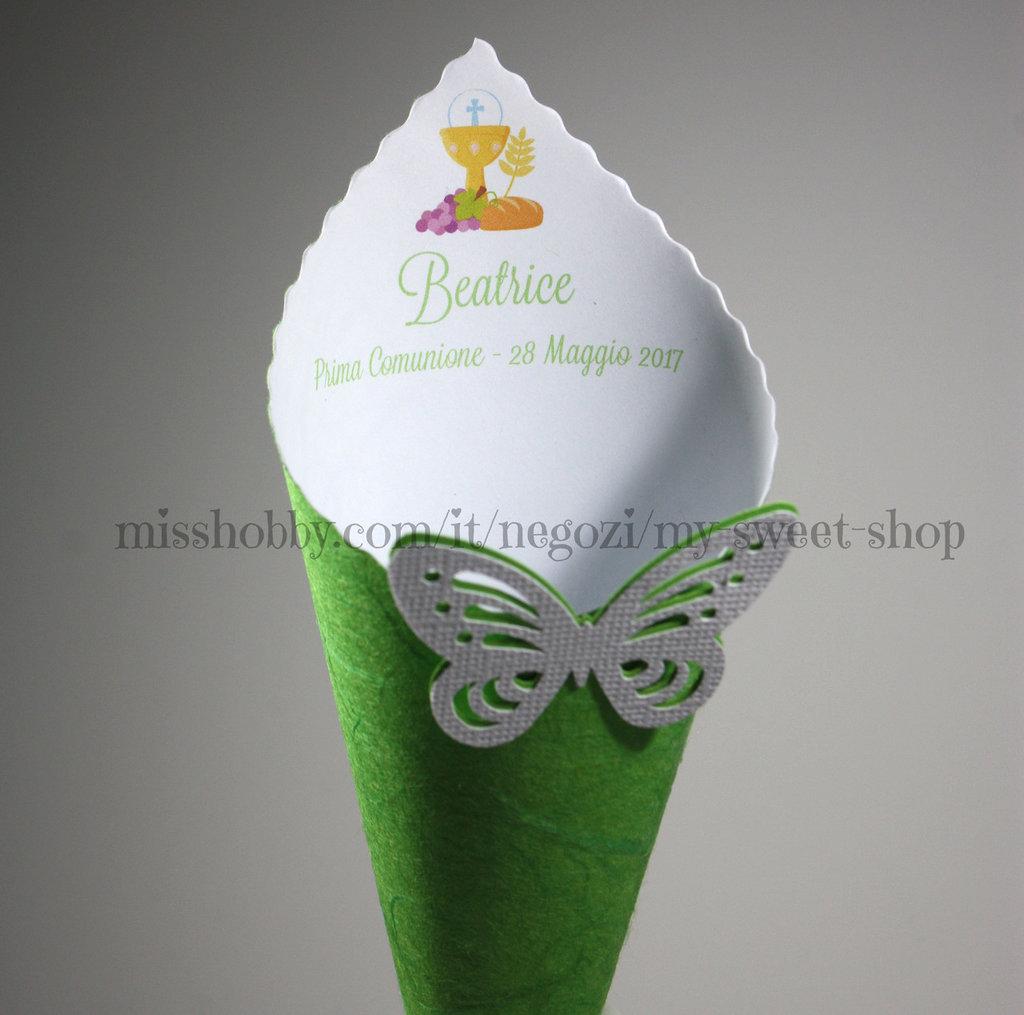 Cono Coni riso o porta confetti per la Prima Comunione verdi o bianchi