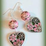Orecchini in fimo handmade grandi pendenti etnici eleganti rosa idea regalo donna festa della mamma