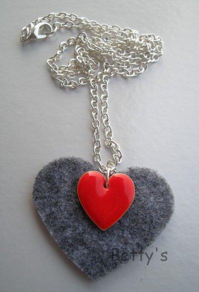 Collana cuore feltro