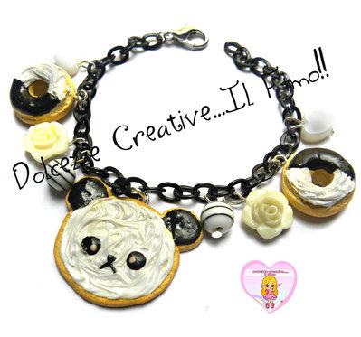 Bracciale Cookie Animal - Biscotto con panda e donut - ciambelle - handmade kawaii