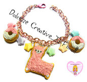 Bracciale Cookie Animal - Biscotto con Alpaca e donut - ciambelle - handmade kawaii