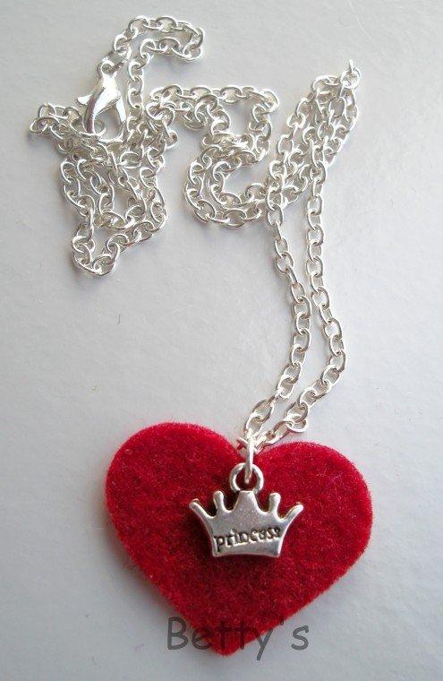 Collana cuore feltro princess