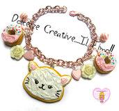 Bracciale Cookie Animal - Biscotto con Gatto e donut - ciambelle - handmade kawaii - regalo gattara