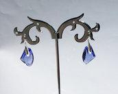 Orecchini in argento e cristalli Swarovski serie Galactic colore tanzanite (blu/viola)