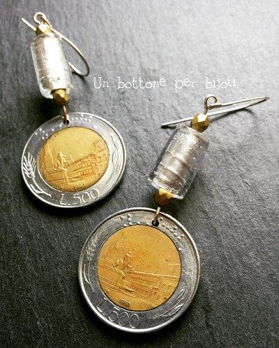 Orecchini con monete italiane vintage fuori corso 500 lire
