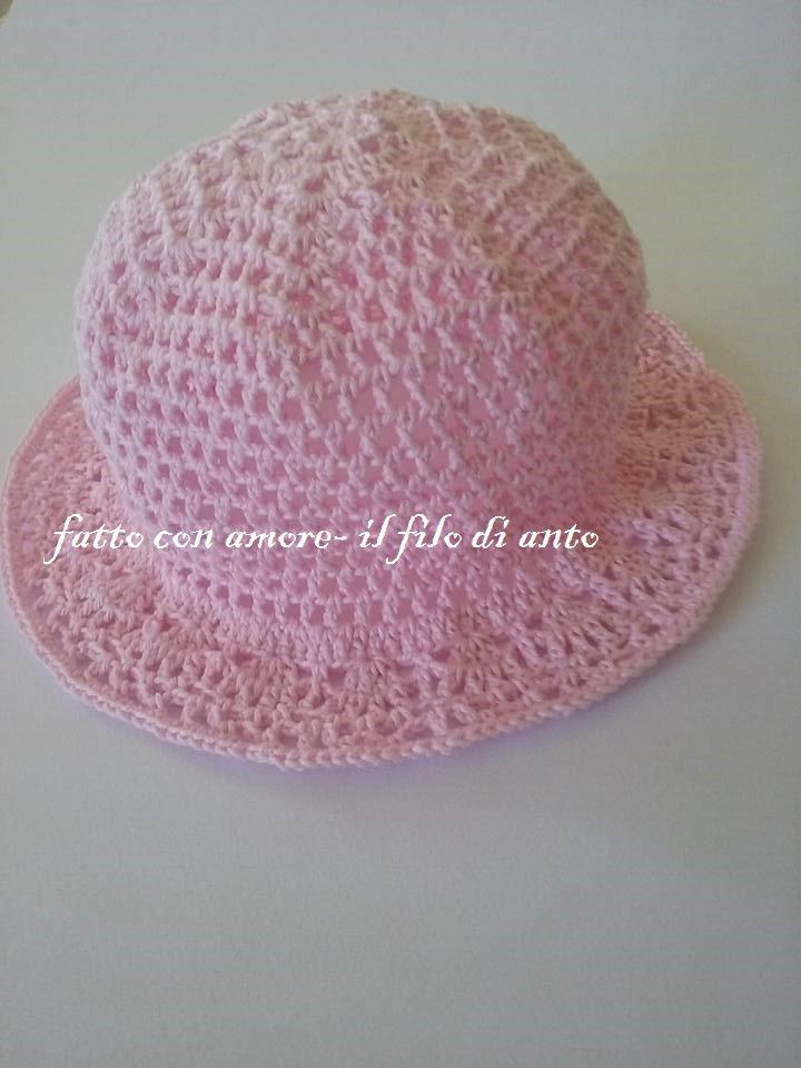 Cappello bimba in rosa con falda