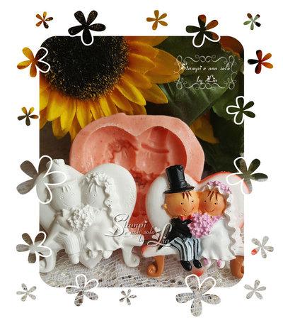 Stampo *Sposi in panchina a forma di cuore*