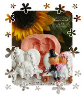 Stampo *Sposi seduti in panchina cuore*