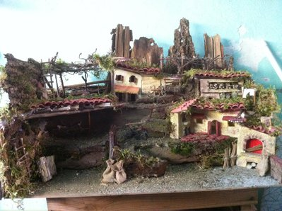 """Ambientazione scena presepe artigianale """" La Vigna """"cm 60 x 40 x h. 38 art 3763"""