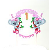Koala birthday cake topper // koala Rosa personalizzabile cake topper // animals cake topper// Stitch buon compleanno cake topper // one birthday