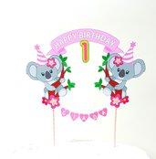 Koala birthday cake topper // koala Rosa personalizzabile cake topper // animals cake topper// Stitch buon compleanno cake topper // one birthday
