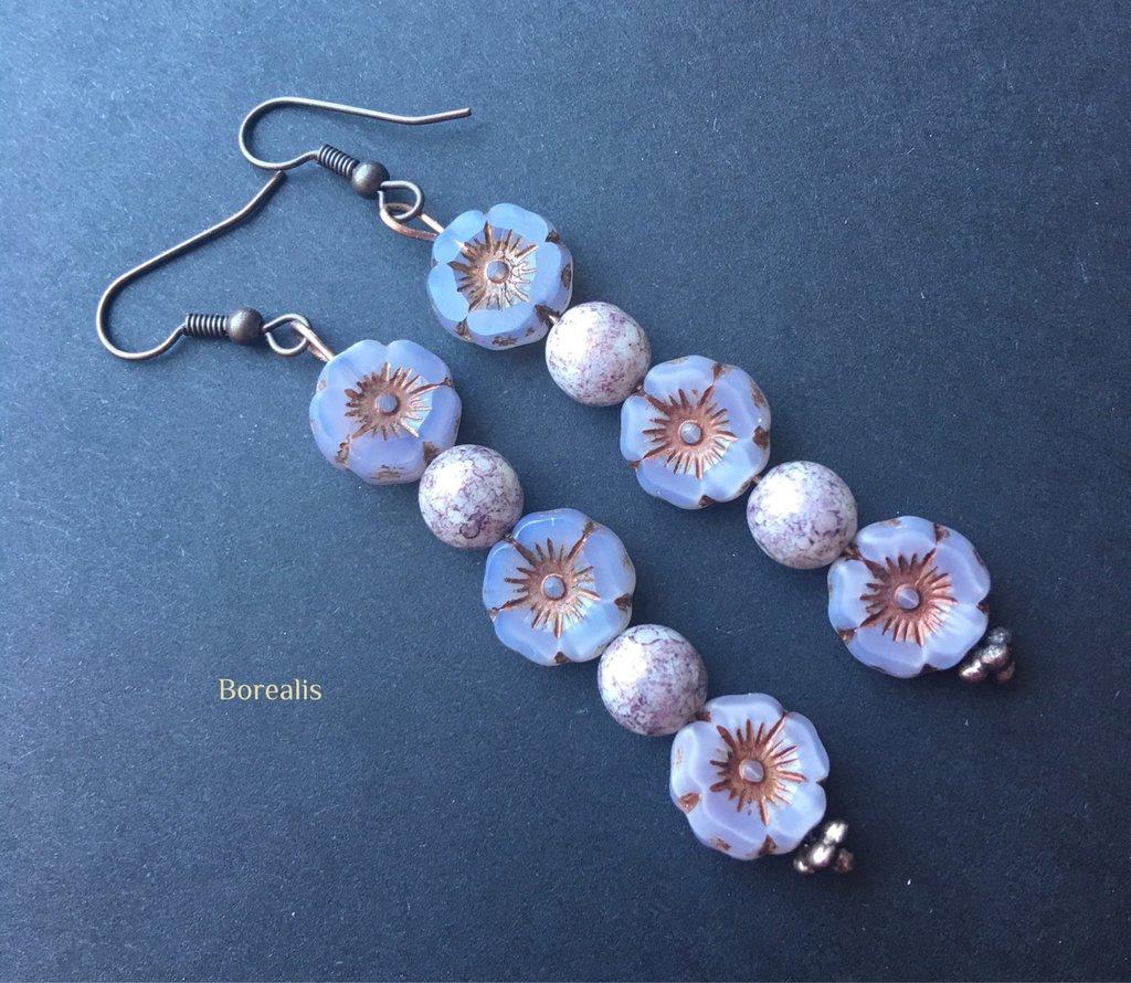 Orecchini Perle e Fiori Vetro Artigianale di Boemia