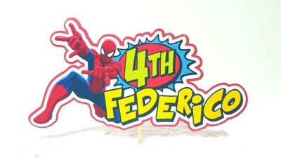 Spiderman birthday cake topper // Supereroi cake topper // Uomo Ragno cake topper compleanno // nome e anni personalizzabili // vignetta pop art