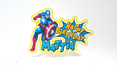 Avengers birthday cake topper // Capitan America cake topper // buon compleanno pop art // personalizzabile nome e anni // Supereroi party