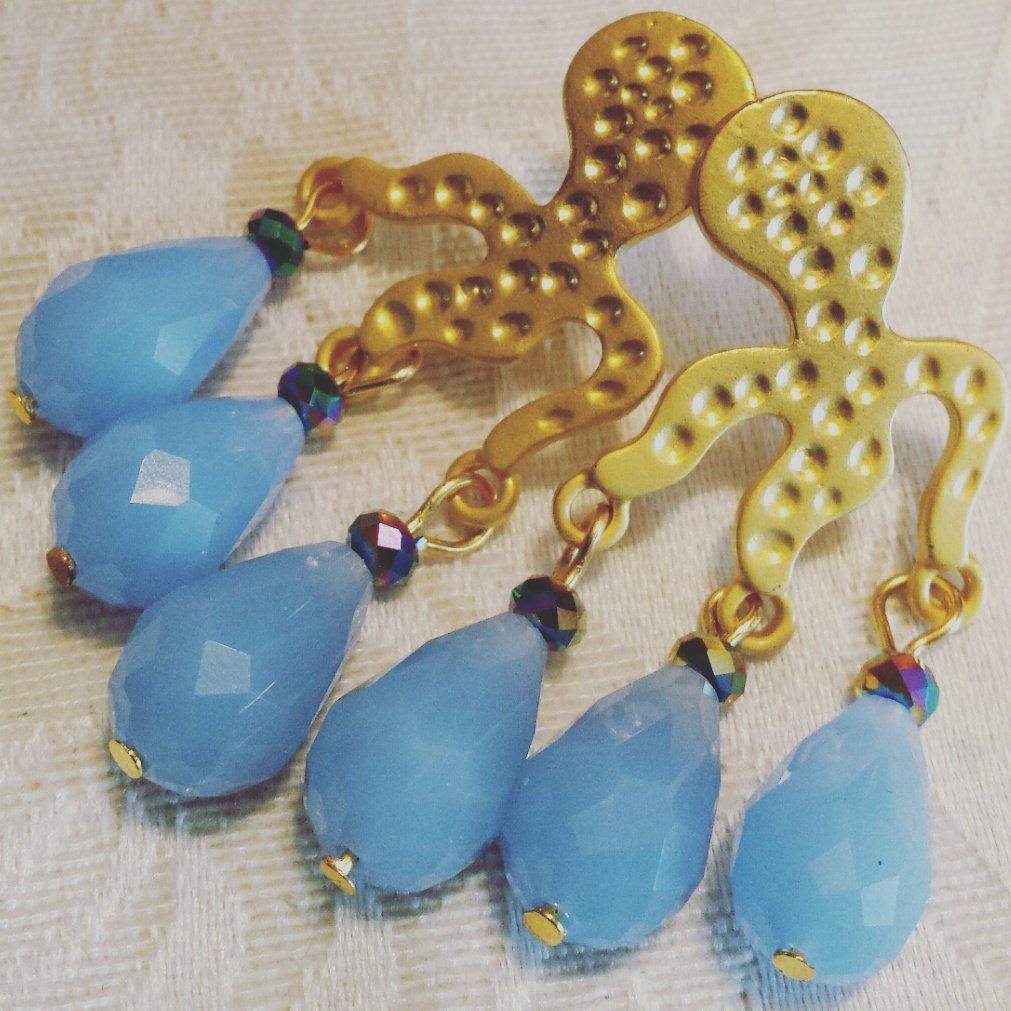 Orecchini polipetto dorato e gocce azzurre