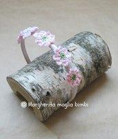 Cerchiello capelli bambina con fiori rosa crochet - uncinetto - cotone - idea regalo!