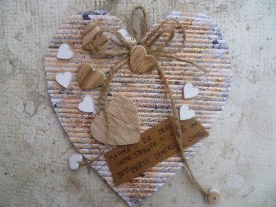 cuore  per la festa della mamma,col riciclo carta