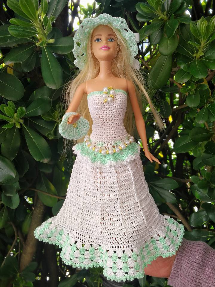 Abito Vestito Barbie Pezzo Unico Bambola Uncinetto Giocattolo Borsa